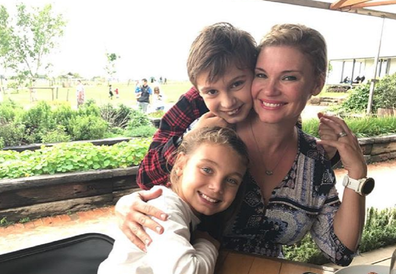 Chloe Maxwell with her son Max and daughter Phoenix.