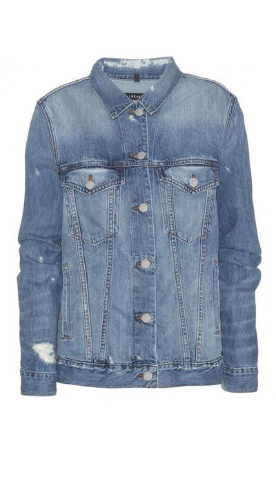 """<a href=""""http://www.mytheresa.com/en-au/distressed-denim-jacket.html"""" target=""""_blank"""">Jacket, $353, J Brand at mytheresa.com</a>"""