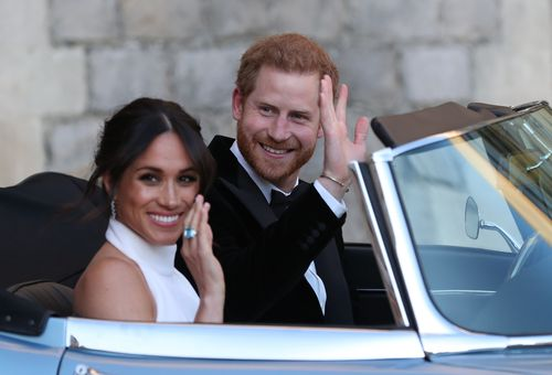 Prince William's brother Harry opted for a Jaguar E-Type Concept Zero to drive off from Windsor Castle with his new bride, Meghan Markle.