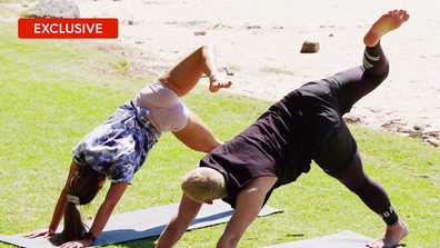 Exclusive: Coco guides a struggling Sam through a yoga class