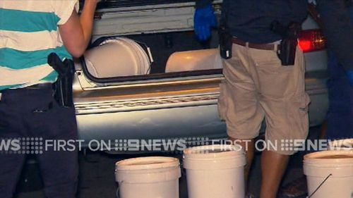 The drugs were in ice chests and white buckets. (9NEWS)