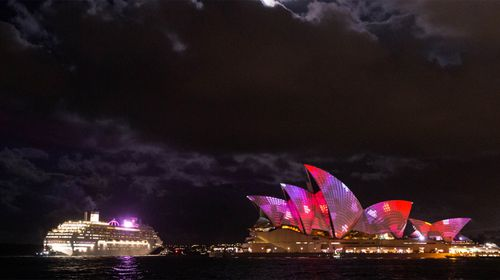 A cruise ship passes the Opera House. (AAP)
