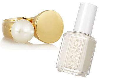 """<p><a href=""""http://www.net-a-porter.com/product/570508/Chloe/darcey-gold-tone-swarovski-pearl-ring"""" target=""""_blank"""">Ring, $268.70, Chloé</a>, and <a href=""""http://www.essiecolours.com.au/Colours/sheers/tuck-it-in-my-tux.aspx """" target=""""_blank"""">Nail Polish intuck it in my tux, $16.95, Essie</a>.</p>"""