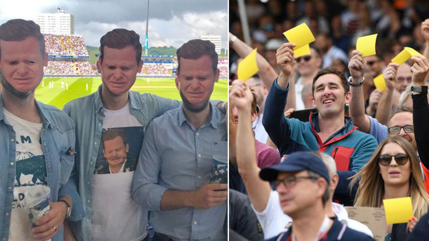 England fans mock Warner and Smith