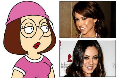 "<B>Originally played by:</B> Rachael MacFarlane and Lacey Chabert (inset, top).<br/><br/><B>Replaced by:</B> Mila Kunis (inset, bottom).<br/><br/><B>The substitution:</B> <I>Family Guy</I>'s socially challenged Meg Griffin was originally voiced by Seth MacFarlane's sister, Rachael MacFarlane, for the show's pilot episode way back in 1999. She was then replaced by <I>Mean Girls</I> star Lacey Chabert for <I>Family Guy's</I> first season, who was in turn replaced by <I>That '70s Show</I>'s Mila Kunis in season two. There's no secret scandal behind Chabert's dismissal &mdash; MacFarlane just felt Kunis is ""more right"" for the character."