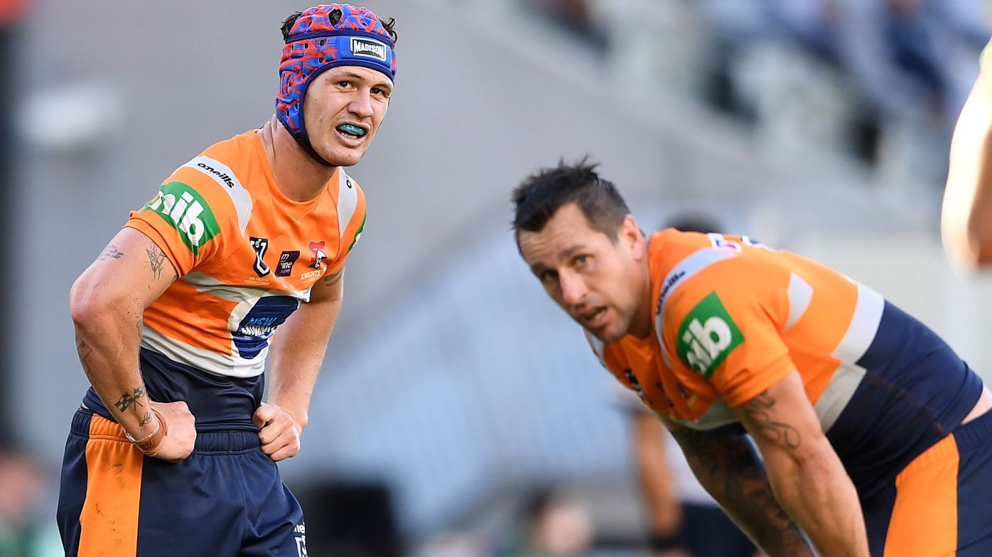 Kalyn Ponga and Mitchell Pearce. (Getty)