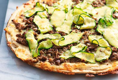 Beef, white bean and zucchini pizza