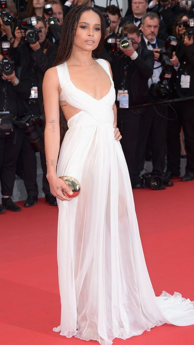 Wearing Valentino Sala Bianca Haute Couture during the <em>Mad Max: Fury Road</em> premiere at the 2015 Cannes Film Festival.