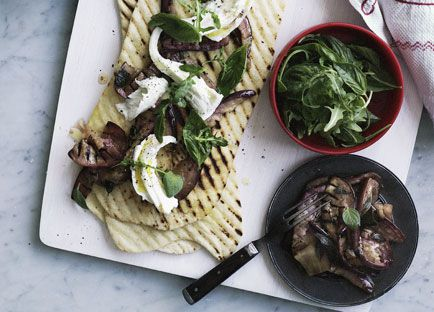 Marinated eggplant, basil and mozzarella piadine