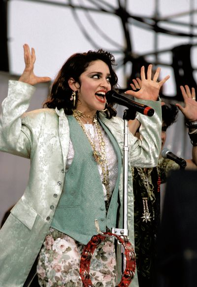 Madonna performs at Live Aid, July 1985