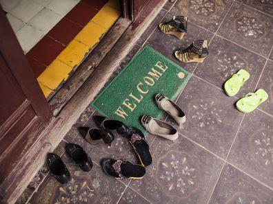 Shoes left outside front door