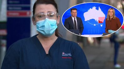 A nurse on Melbourne's coronavirus frontline has condemned the behaviour of anti-maskers, with his emotional plea that left Today hosts Karl Stefanovic and Ally Langdon cheering.