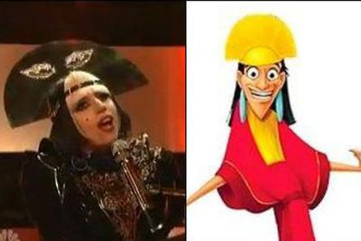Lady Gaga is pretty much a caricature of herself, but here she looks totally like Kuzco, a character from the Disney movie, <i>The Emperor's New Groove</i>. <p><b>Image</b>: totallylookslike.com