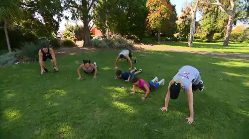 The family-friendly program provides workout options.