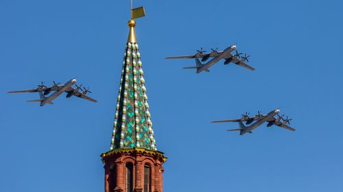 """NATO scrambled fighter jets 10 times on March 29 to track and intercept an unusually """"rare peak"""" of Russian bombers and fighters flying over the North Sea, Black Sea and Baltic Sea, according to a NATO official."""