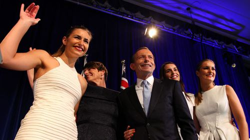 Tony Abbott with daughters Frances (left) and Bridget (right). (Getty)