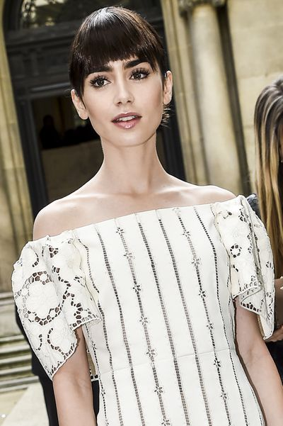 Actress Lily Collins ... the ultimate fringe queen. Blunt-styled and skimming the brows, which are also perfection by the way.