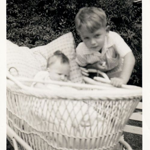 Peter Moore as a small boy, with his sister. (Photo: Peter Moore)