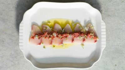 "<a href=""http://kitchen.nine.com.au/2016/08/16/07/51/maggie-beer-sashimi-of-hiramasa-kingfish"" target=""_top"">Maggie Beer's sashimi of hiramasa kingfish with quandong, finger limes and capers</a>"