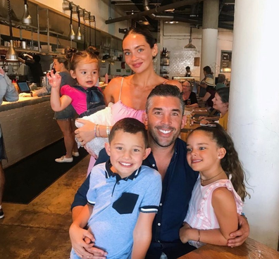 Braith Anasta out and about with partner Rachael and children