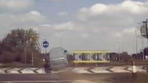 A van in the UK has catapulted over a roundabout at speed, flying through the air in a gravity defying crash.