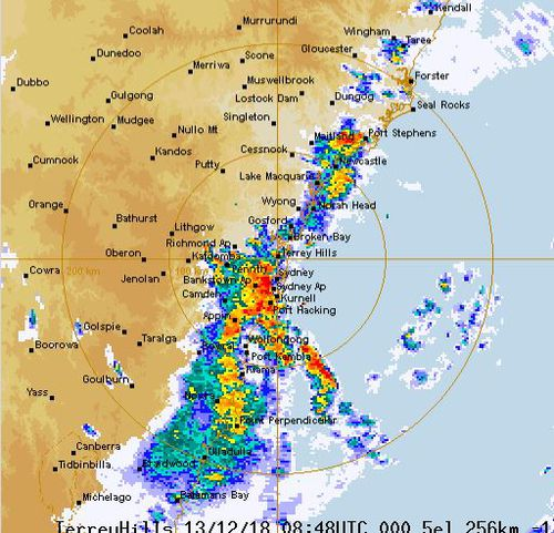 NSW thunderstorms rain radar