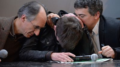 January 13, 2015: Charlie Hebdo editor in chief, Gerard Briard (L) Charlie Hebdo cartoonist, Renald Luzier (C) aka Luz and Patrick Pelloux (R), Charlie Hebdo journalist, during the Charlie Hebdo press conference held at the Liberation offices in Paris.  <br><br>The press conference was held to accounce the next issue following the terrorist attack against Charlie Hebdo where 12 people were killed. <br><br> Photo by Getty Images.