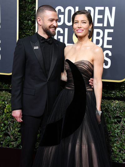 JT couldn't take his eyes of Jess at  the 75th Annual Golden Globe Awards in 2018.