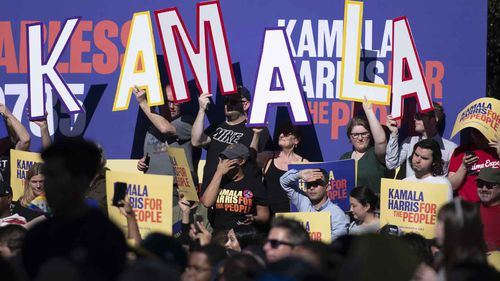 The crowd cheers on Kamala Harris during her presidential announcement speech.