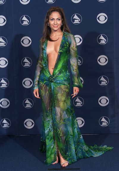 Jennifer Lopez in Versace at the 42nd Grammy Awards in Los Angeles, February, 2000
