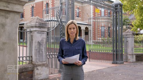 Reporter Allison Langdon outside St Marks College in North Adelaide. Picture: 60 Minutes
