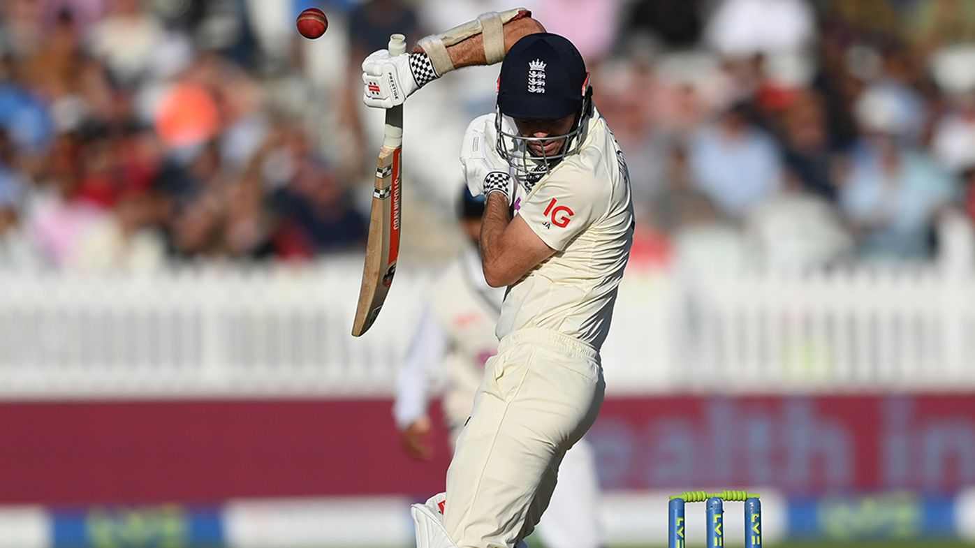 James Anderson evades a short pitched ball from Jasprit Bumrah during the Lord's Test.