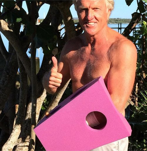 Greg Norman shows off new 'fashion statement' after chainsaw accident