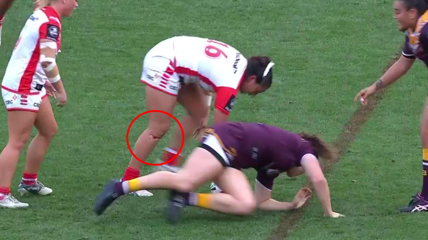 Dragons star Maddison Weatherall suffers knee gash cut in NRLW grand final