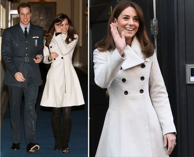 Kate wears a cream Reiss coat to Prince William's RAF graduation ceremony in 2008 and again on tour in Ireland in 2020