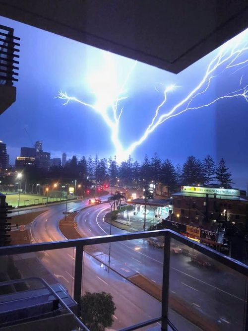 Clair Higham sent in this picture of a lightning clap over Burleigh Heads. (Picture: Claire Higham)