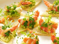 Prawn coctail on melba toast
