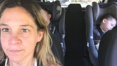Heidi Krause driving her two sons in the car to put them to sleep.