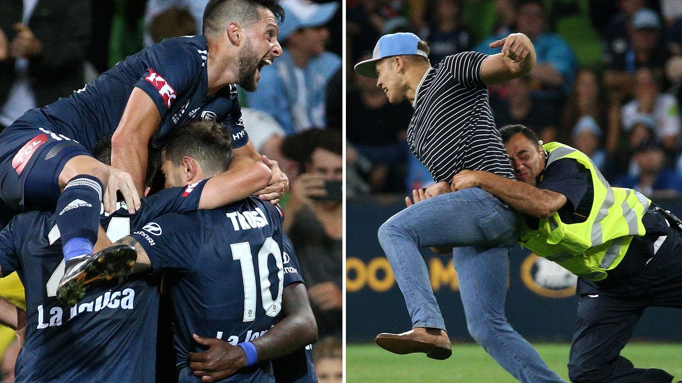 A-League: Victory beat City in Melbourne derby, pitch invader collected by classic tackle