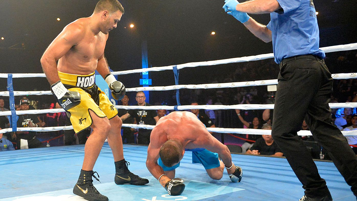 Former NRL star Justin Hodges wins pro boxing debut
