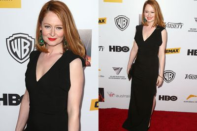 <i>The Turning</i> actress Miranda Otto swanned her way up the Intercontinental carpet in classic black Valentino.