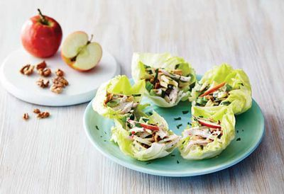 """Recipe:<a href=""""/recipes/ichicken/9057307/pink-lady-waldorf-salad-with-chicken-and-toasted-walnuts"""" target=""""_top""""> Pink lady waldorf salad with chicken</a>"""