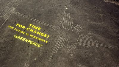 Environmental group Greenpeace was forced into an embarrassing apology to the people of Peru after a number of its activists laid a message about climate change near the sacred Nazca Lines in December last year. Activists walked over prohibited areas, including the figure of a hummingbird, that is held to be sacred ground by Peruvians. The Nazca Lines are a series of hundreds of figures and shapes set into the ground between 400-650CE. (AAP)