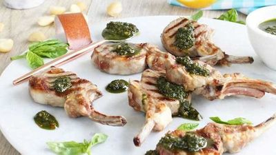 "<a href=""http://kitchen.nine.com.au/2017/01/25/14/49/chargrilled-lamb-cutlets-with-macadamia-pesto"" target=""_top"">Chargrilled lamb cutlets with macadamia pesto</a> recipe"