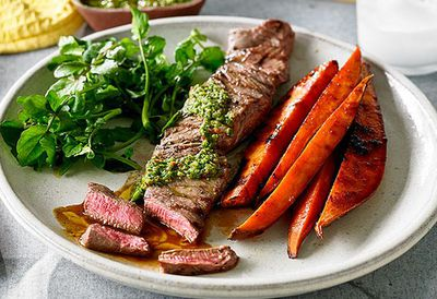 """Recipe:&nbsp;<a href=""""http://kitchen.nine.com.au/2016/05/04/15/40/chimichurri-beef-fillet-with-watercress-and-sweet-potato"""" target=""""_top"""" draggable=""""false"""">Chimichurri beef fillet with watercress and sweet potato</a>"""