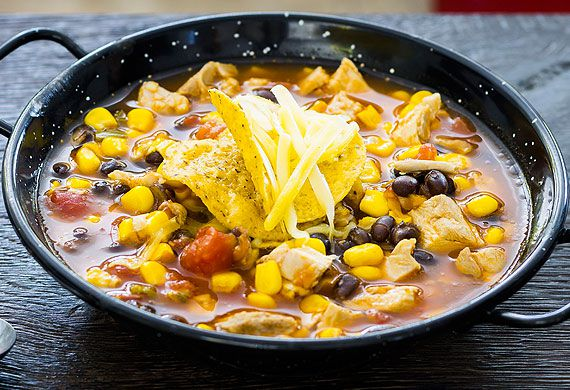 Chicken and black bean tortilla soup