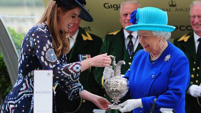 Princess Beatrice presents Queen Elizabeth II with her Royal Ascot trophy, June 2016