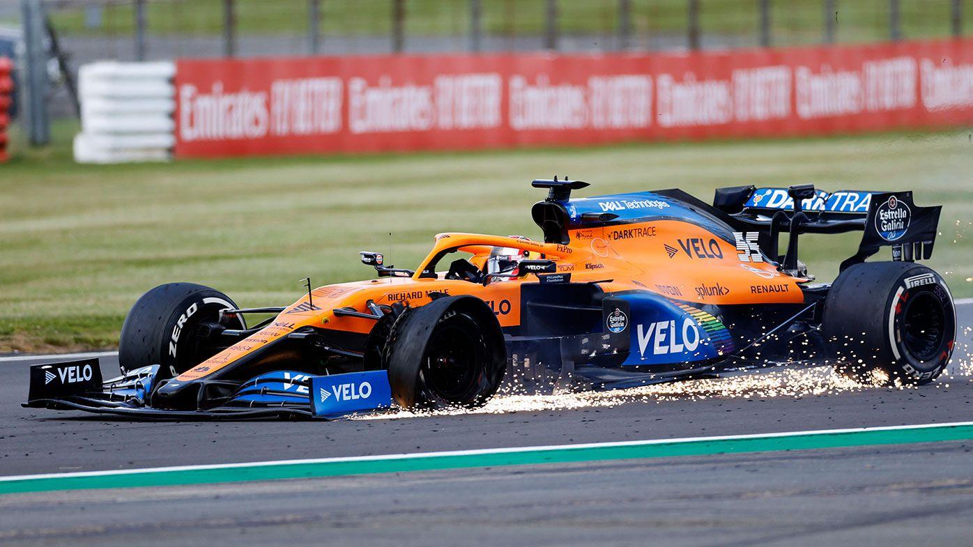 McLaren't Carlos Sainz suffers a tyre failure late in the British Grand Prix.