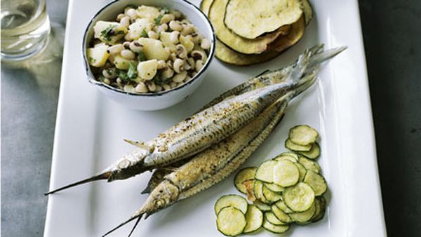 Garfish with fried vegetables, tzatziki, and burghul and black-eyed bean salad