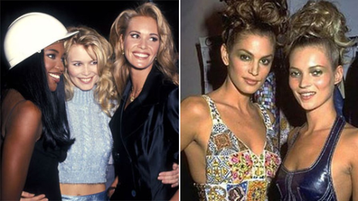 Supermodels, then and now, gallery, Naomi Campbell, Claudia Schiffer, Elle Macpherson, Cindy Crawford and Kate Moss.